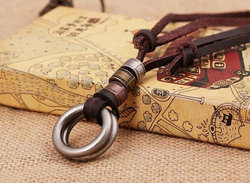 cordão colar masculino couro legítimo anel em aço ajustável