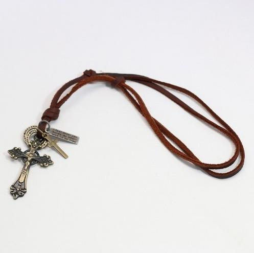 cordão colar masculino couro legítimo + pulseira crucifixo