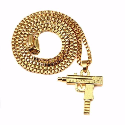 cordão colar pingente metralhadora uzi supreme arma ouro