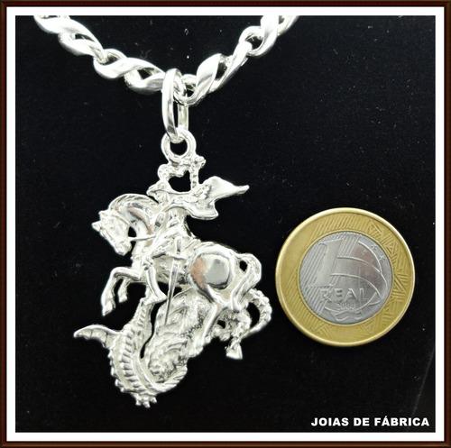 cordão com 75cm com pingente são jorge em prata 950