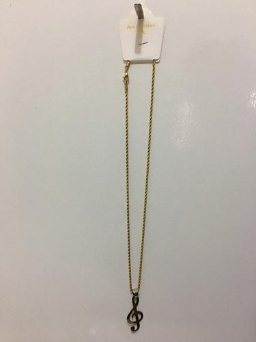 cordão com pingente clave de sol (dourado) aço inoxidavel