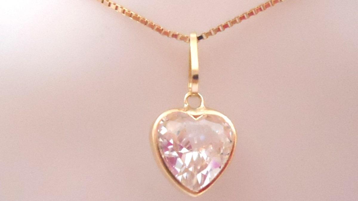 b13f7a0e5623b Cordão Com Pingente Coração Zircônia Joia De Ouro 18k - R  348,00 em ...