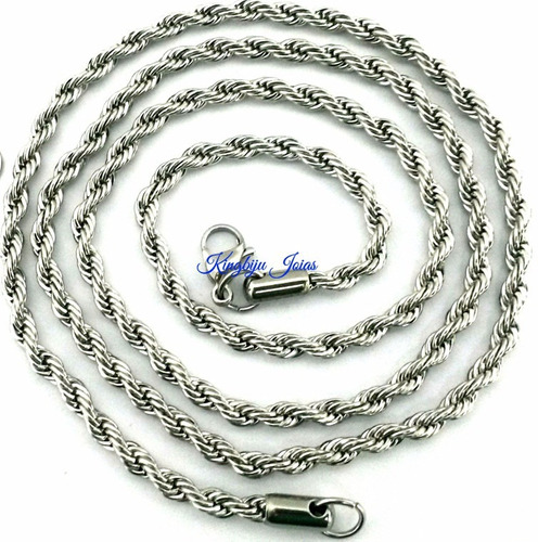 cordão comprido trançado baiano 70cm aço inox antialérico