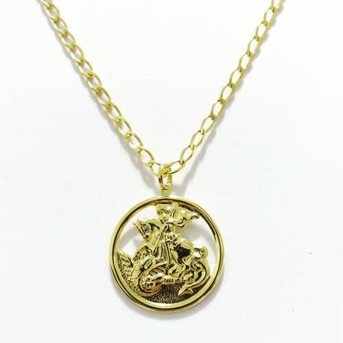 cordão corrente 60cm são jorge  folheado ouro 18k