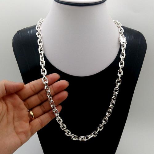 cordão corrente cadeado prata maciça 925 60cm 8mm