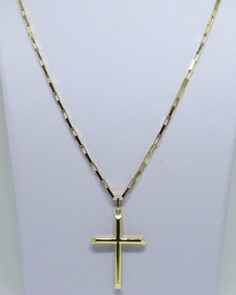 da03520a575 Cordão Corrente Cartier 60cm+ Pingente Crucifixo Ouro 18k750