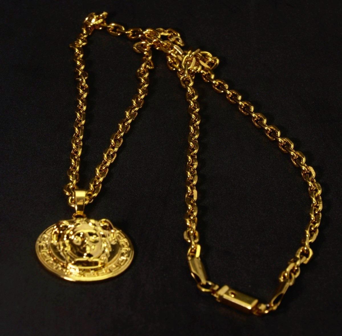 c3c80cae914 cordão corrente cartier pingente versace medusa banhada ouro. Carregando  zoom.