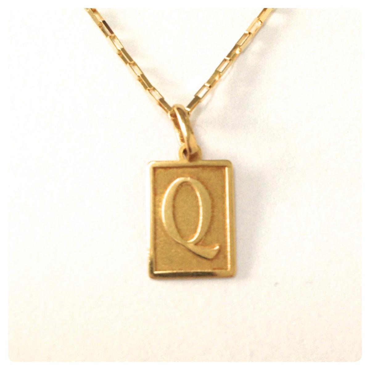 Cordão Corrente De 60cm Pingente Letra Inicial De Ouro 18k - R  970 ... 969a90171f