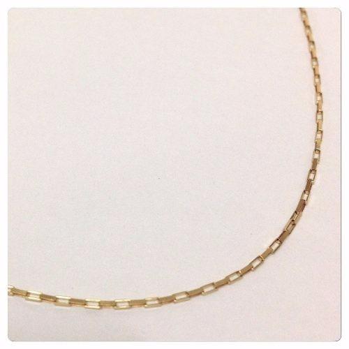 cordão corrente elo quadrado 70cm em ouro 18k-750 cadeado