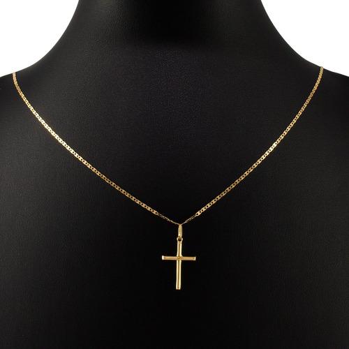 cordão corrente em ouro 18k piastrine 60cm + crucifixo 017