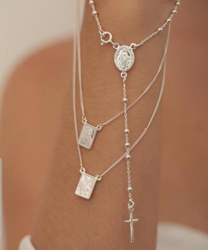 cordão corrente em terço bolinhas 50cm prata 925