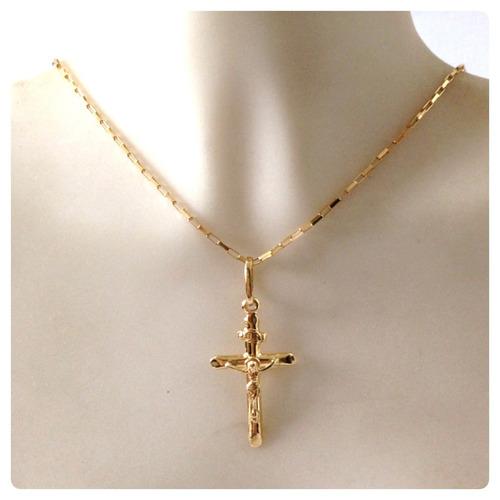 cordão corrente italiana de 70cm crucifixo masculino ouro18k
