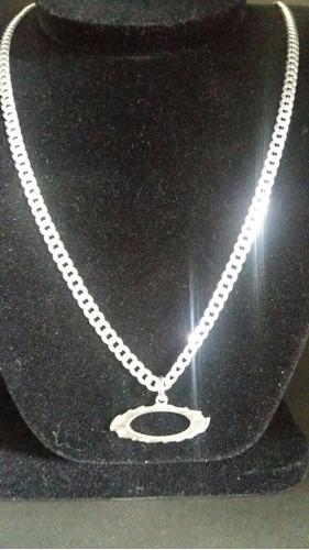 cordão corrente italiana prata 925 70cm + pingente oakley