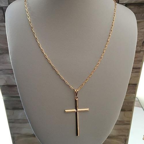 cordão corrente masculina 60 cm + pingente banhado ouro 18k