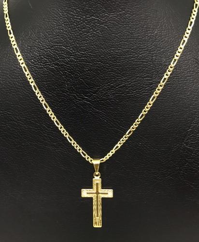 cordão corrente masculino banhada ouro 18k 70cm ping cruz 2m