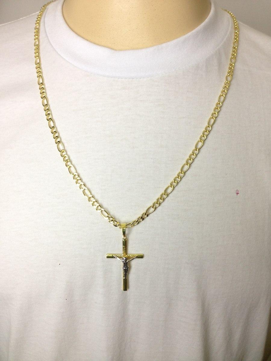 cordão corrente masculino banhada ouro 18k 70cm ping cruz 4m. Carregando  zoom. 3ea983ced8