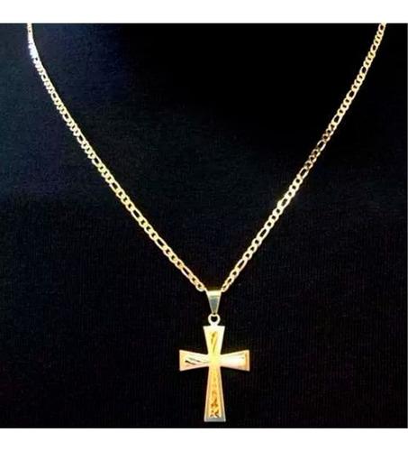 cordão corrente masculino banhada ouro ping cruz ref 306 v3
