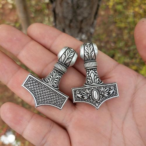 cordão corrente masculino viking aço inoxidável martelo