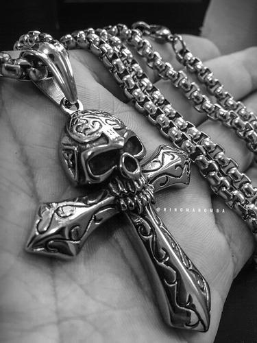 cordão de aço inoxidável pingente cruz e caveira