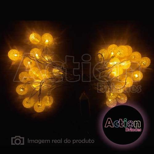 cordão de led amarelo 30 bolinhas cristal 6m - bivolt - 2 un