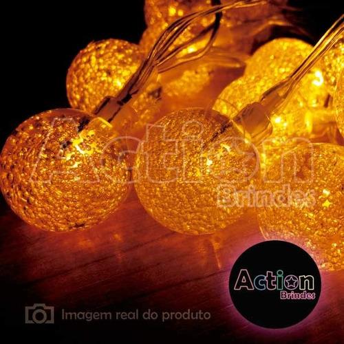 cordão de led amarelo 30 bolinhas cristal 6m - bivolt