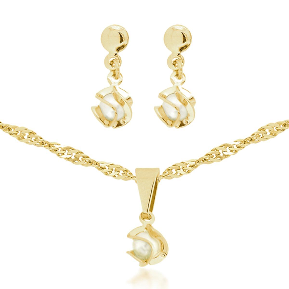 9098f1e5ae14b Cordão De Perola Feminino Colar Banhado Ouro 18k Corrente - R  35,99 ...