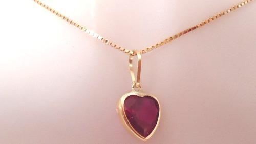 cordão e pingente coração ouro 18k+ frete grátis 12x s/juros