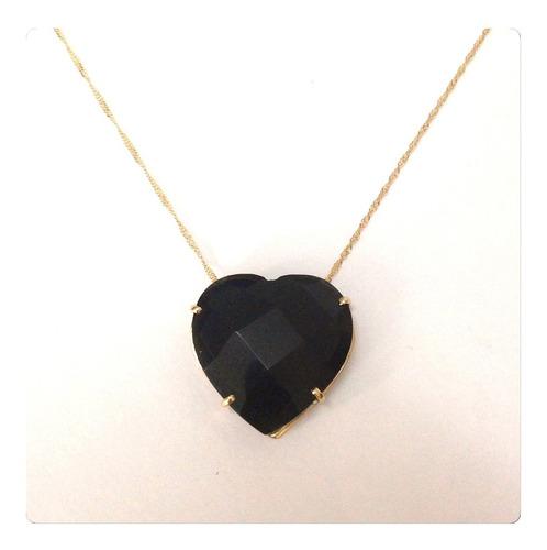 cordão e pingente cristal onix joia ouro 18k corrente 50 cm