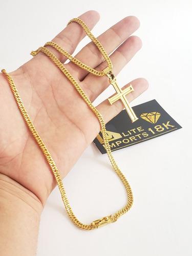 cordão e pingente grumet 5mm banhado a ouro 18k