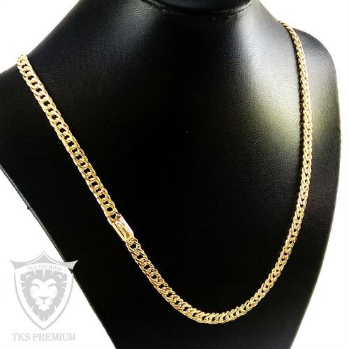 cordão e pulseira elos duplos 7mm-60cm folhedos a ouro tk688