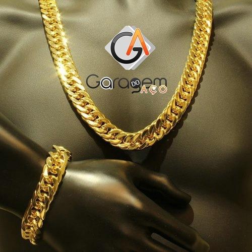 cordão elo 9mm 70cm banhado ouro elo grumet ,brinde pulseira