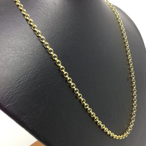 cordão elo português folheado a ouro 60cm + pingente grátis