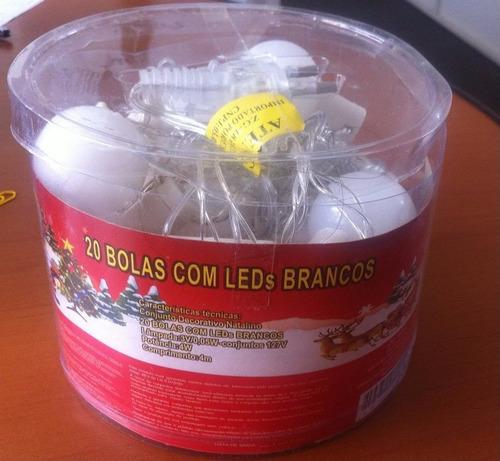cordão enfeite natal 20 bolas(2,5cm) led branco frio 4m 110v