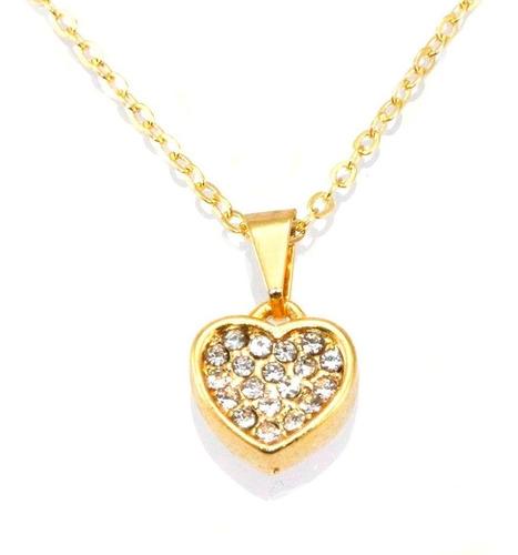 cordão feminino colar coração com strass folheado a ouro 18k
