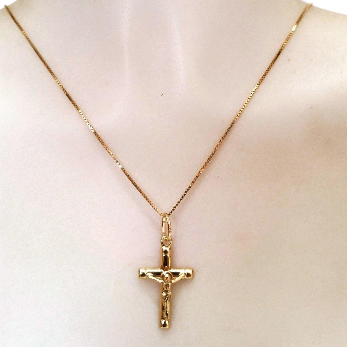 279648918c36f cordão feminino de 45cm pingente crucifixo ouro italiano 18k. Carregando  zoom.