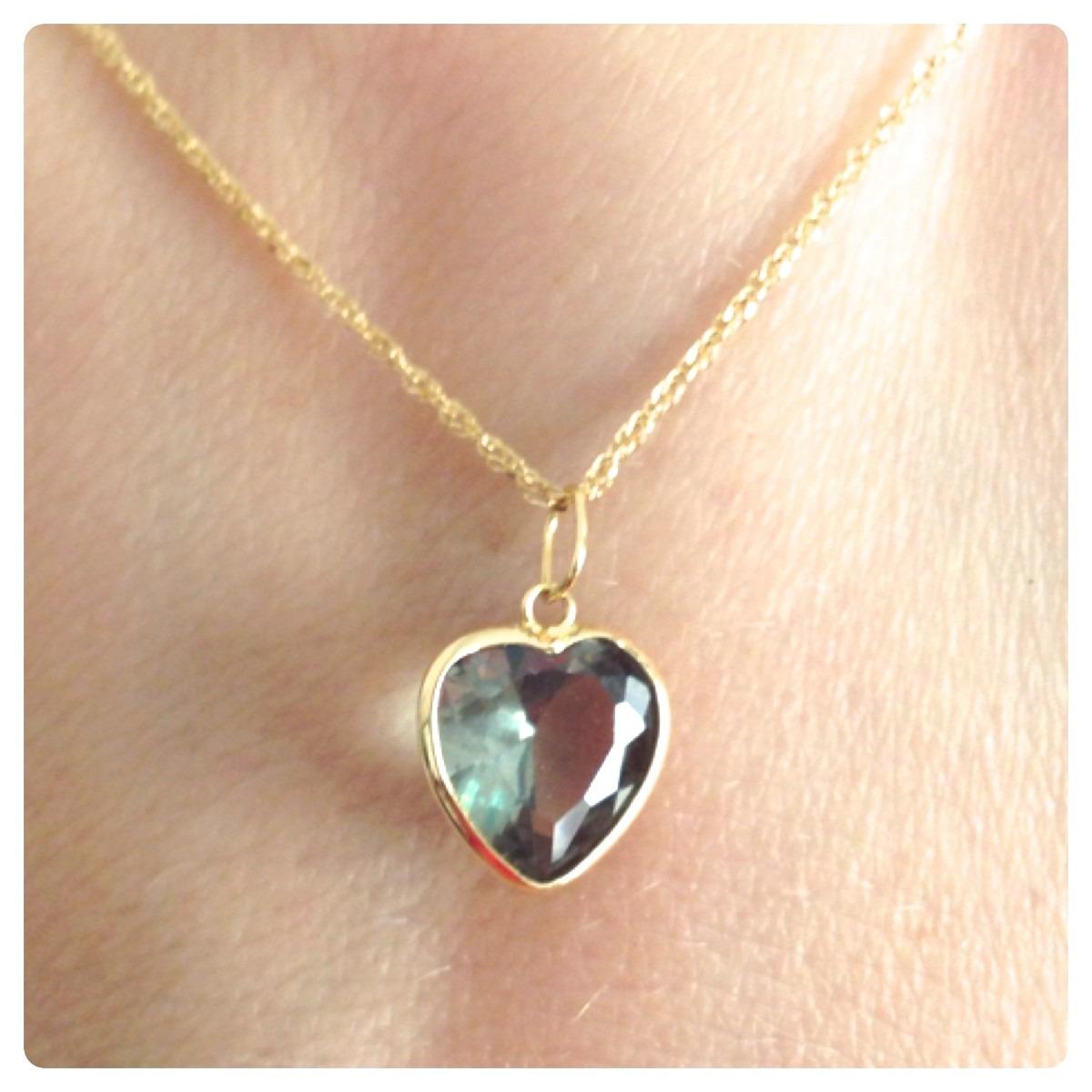 94e85a6e58977 cordão feminino de ouro 18k e pingente coração 8mm cor verde. Carregando  zoom.