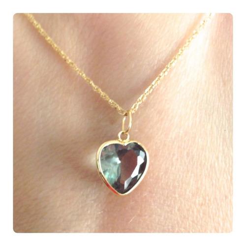 cordão feminino de ouro 18k e pingente coração 8mm cor verde