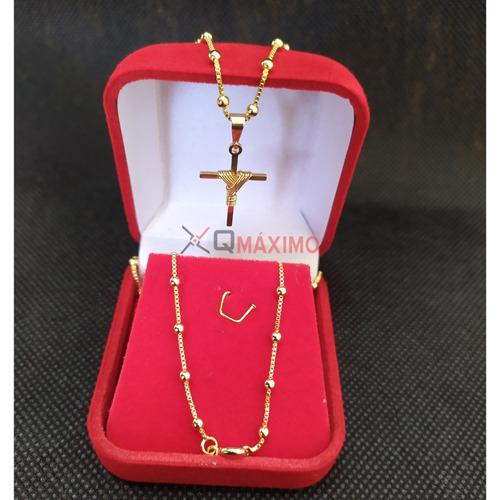 cordão feminino folheado a ouro com pingente ref. rm15