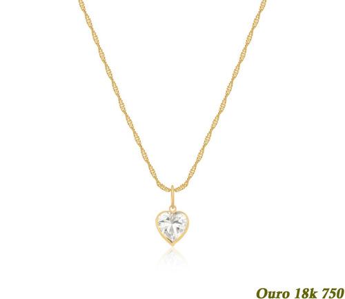 cordão feminino ouro 18k 40cm ponto de luz coração 6mm