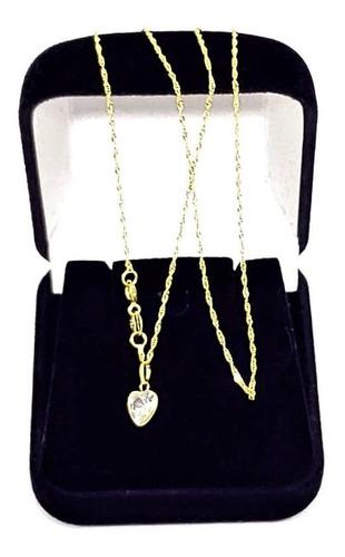cordão femino ouro 18 k 750 45cm pingente coração promoção