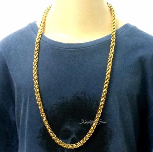 cordão grosso e comprido 70cm aço banhado ouro frete grátis!
