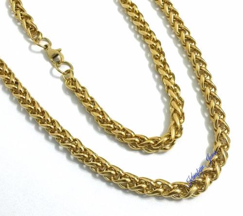 cordão grosso e comprido 70cm trançado duplo aço dourado