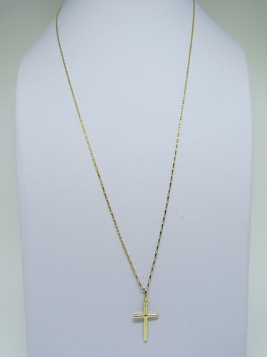 cordão masculino cadeado de 70cm e crucifixo joia ouro 18k