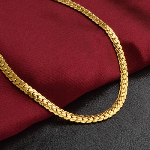 cordão masculino corrente folheada ouro 18k lagosta 50cm 5mm