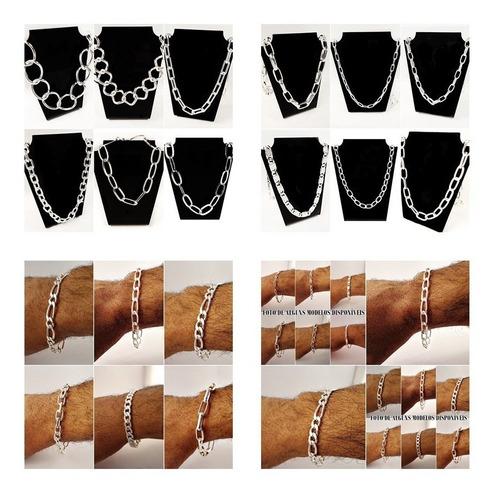 cordão masculino e pulseira folheado prata kit 10 pç atacado