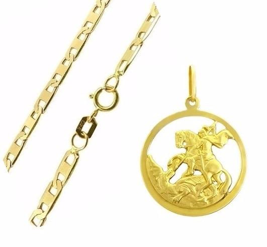 Cordão Masculino Piastrine E Pingente São Jorge De Ouro 18k - R  697,87 em  Mercado Livre 96f7d60c37