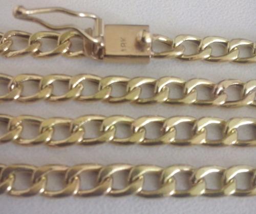 cordão oco modelo batido de ouro 18 k 750