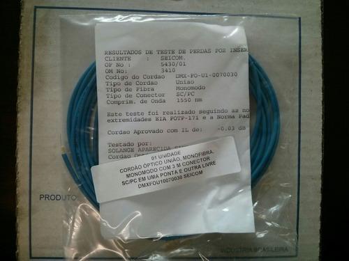 cordão óptico união,monomodo sc/pc e ponta livre 3 metros