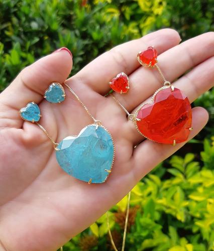cordão pedra fusion azul sky / vermelho + certificado +frete