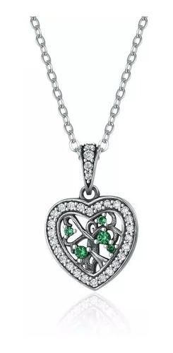cordão prata 925 coração pedra zircônia verde estilo pandora